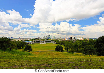 Greenwich park panorama - Panoramic view of Greenwich park...