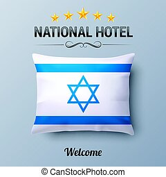 National Hotel - Realistic Pillow and Flag of Israel as...