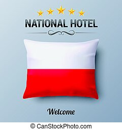 National Hotel - Realistic Pillow and Flag of Poland as...
