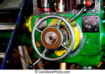 Old green lathe - Photo of rare green lathe, close-up at the...