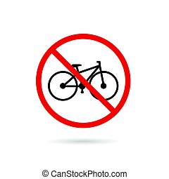 bicycle sign in red color illustration