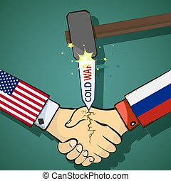 Cold war between the USA and Russia. Handshake of two...