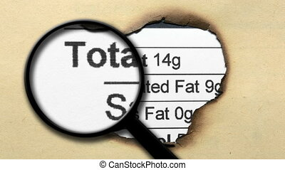 Magnifying glass on nutrition facts