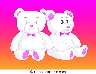 Two cute Teddy bears in love. Female and male.