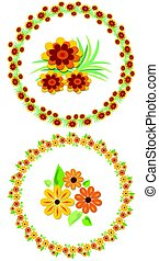 Flower wreath and motifs for your spring and summer design, cheerful colors