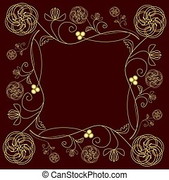 Tile with fine golden  flower motif in art deco style on dark red background.