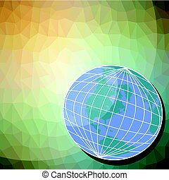 Background with globe motif - western hemisphere on triangle patterned area