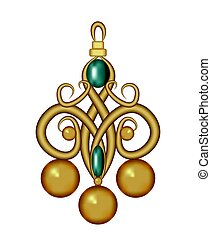 Jewel gold pendant in vintage art deco style with green gemstone