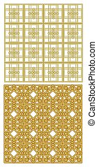 Golden metallic grid with art deco patterns. Two models, repeatable, seamless with 3D effect.