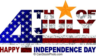 4th of July Independence Day Text Gold Star illlustration -...