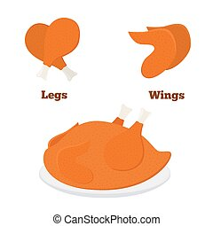 Fried chicken parts - leg, wings. Tasty fast food. Whole meat