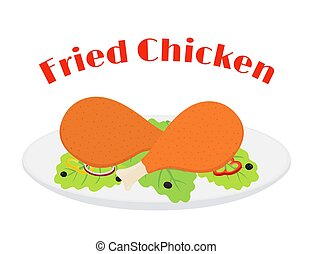 Fried chicken leg, tasty fast food on plate