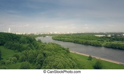 Aerial shot of the Moscow river and Kolomenskoe park...