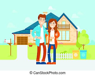 Young people bought the new house vector flat illustration. Happy family is moving into new home. Cartoon characters of the husband and wife