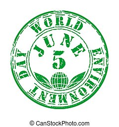 Green grunge stamp for World Environment Day - Green grunge...