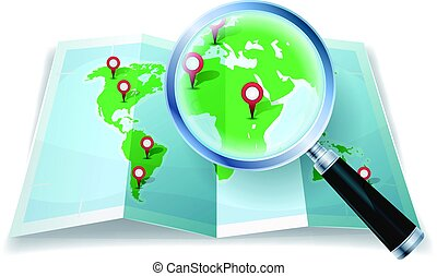 Magnifying Glass On World Map - Illustration of a cartoon...