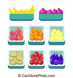 Grocery Store Assortment. Healthy Nutrition. - Bananas...