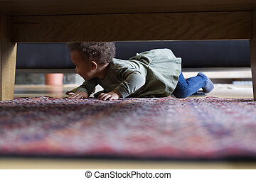 Little girl crawling at home. - Little girl crawling at home...