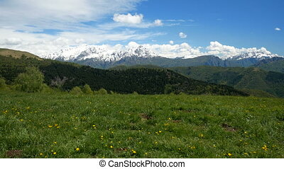 Snowy mountains landscape in spring in northern Italy -...