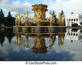 Fountain in Moscow - Friendship of the Peoples Fountain in...