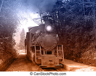 Steam narrow-gauge train. - Steam narrow-gauge train moves...