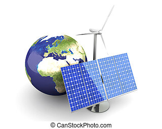Alternative Energy - Europe - 3D rendered Illustration...