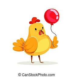 Funny cartoon chick bird standing with red balloon colorful character vector Illustration