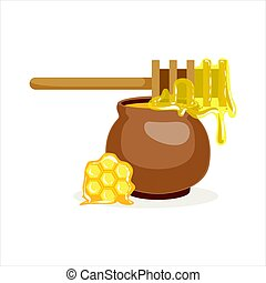 Wooden honey dipper and clay pot vector Illustration...