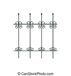 Decorative iron fence for park or garden vector Illustration