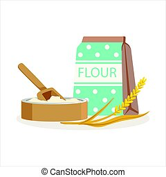 Flour in a craft paper bag and wooden bowl with scoop vector...