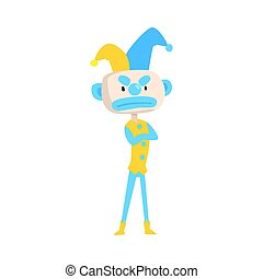 Angry cartoon jester colorful character vector Illustration