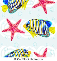 Seamless pattern with tropical fish and sea star. Vector...