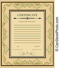 Illustration of a custom certificate template with gold ornaments .