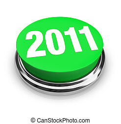 Round Green Button - 2011 New Year - A green button with the...