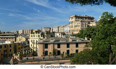 Panoramic view of downtown Genoa, Italy - Panoramic view,...