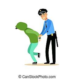 Police officer arresting criminal, character vector Illustration