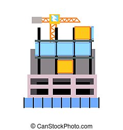 Modern building construction vector Illustration isolated on...