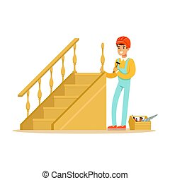 Carpenter building a wooden staircase, woodworker character...