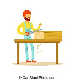 Carpenter man sawing wood in his workshop, woodworker character vector Illustration