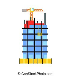 Construction of building from glass and concrete vector...