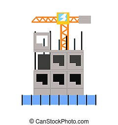 Process of construction of a multistory building vector...