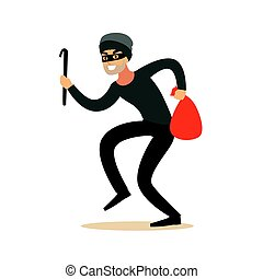 Thief in a mask sneaking with a crowbar and a sack, robbery...