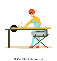 Carpenter man cutting a wooden plank by circular saw, professional wood jointer character vector Illustration