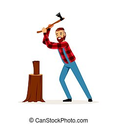 Lumberjack chopping wood with an axe colorful character...