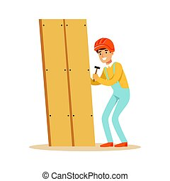 Young smiling carpenter man building new furniture, woodworker character vector Illustration