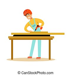 Young carpenter man drilling wood in his workshop, professional wood jointer character vector Illustration