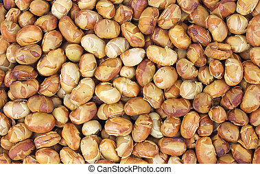Close view of roasted soy nuts