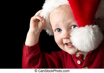 Happy Christmas - A gorgeous young boy peeking out from...