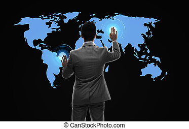 businessman working with virtual world map - business,...