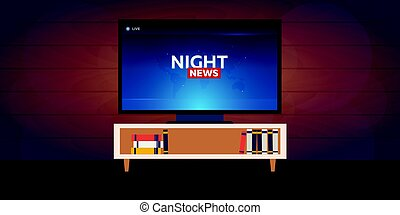 Mass media. Night news banner. Live. TV show. - Mass media....